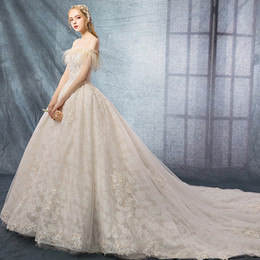 $enCountryForm.capitalKeyWord UK - A word shoulder wedding dress tail feathers new champagne bridal gowns, system network red light out yarn