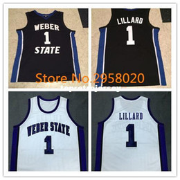 Cheap custom DAMIAN LILLARD Weber State Black White College Basketball  Jerseys Embroidery Stitched Custom Any Name and Number 3919e880e