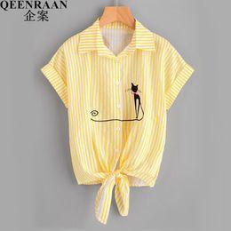 bc543a69 New Sweet Women Blouse Shirts Summer Cat Embroidered Short Sleeve Tops  Blusas Shirt Casual Fashion Womens Blouses Femininas Q190530