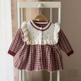 toddler girls shirt dresses Australia - Baby Girls Knitted Dress 2019 autumn winter Clothes children Toddler Tops Shirts for girl Kids princess Cotton Christmas Dresses T191006