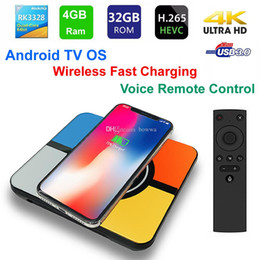 android tv box fast Australia - S10 Plus Smart TV BOX Wireless Fast charging Android TV OS RK3328 Quad Core 4GB 32GB WIFI 3D 4K USB3.0 with Voice Remote Control