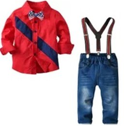 $enCountryForm.capitalKeyWord UK - Kids Boys Clothing Set Gentleman Long Sleeve Stripes Plaid Shirts + Straps Denim Suits Cotton Spring Autumn Children Clothing Sets 2-7T