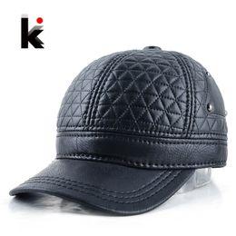 $enCountryForm.capitalKeyWord Australia - 2017 Mens winter leather cap warm plaid hat baseball cap with ear flaps russia adjustable snapback hats for men casquette