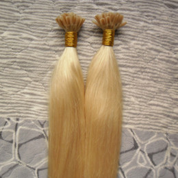 Human Hair Keratin Bonded Australia - #613 Bleach Blonde Virgin Indian Straight Remy Hair 100S Pre Bonded Nail TIP Human Hair Extensions Italian keratin Remy Hair Extensions