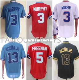 7f3787a1b Men's Batting practice baseball jersey #3 Dale Murphy 5 Freddie Freeman 13  Ronald Acuña Jr. cool base player uniform mesh Baseball Wear