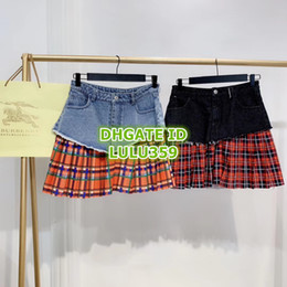 $enCountryForm.capitalKeyWord NZ - 19 Women Fashion Luxury Designer Plaid Print Mini A-Line Pleated Skirt Girls Letter Print Skirt Runway Skirts Female Mini Dress Denim Skirt