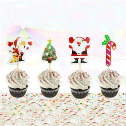 Christmas Cake Decorate Card Insertion Santa Claus Tree Insert Sign Popular Cupcake Topper Hot Selling With Various Patterns 1 8ss J1 on Sale