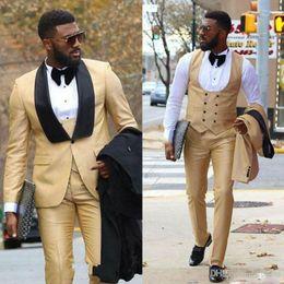 Tuxedo Gold Burgundy Australia - Customized Gold Three Pieces Men's Wedding Tuxedos One Button Black Shawl Lapel Sim Fit Prom Suit Cheap Groom Wear