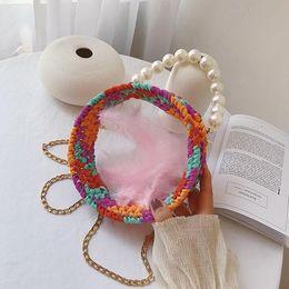 $enCountryForm.capitalKeyWord Australia - wholesale women handbag summer new wool hand-woven bag sweet girl acrylic transparent bag summer Candy-colored hand-woven crochet beach bag