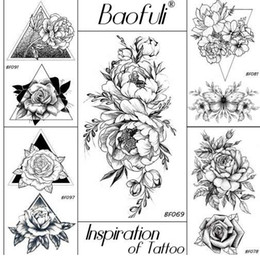 black rose tattoos Canada - BAOFULI 20 Styles Women Black Flowers Tattoo Transferable Fake 3D Body Art Tatoos Neck Arms Sleeve Rose Temporary Tattoo Sticker