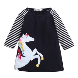 dresses horse prints 2019 - New 2018 summer girl dress Toddler Baby Girl Kid Spring Clothes Horse Stripe Print Princess Party Dress dropshipping dis