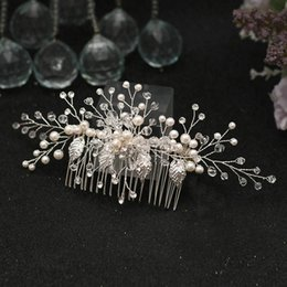 elegant hair combs UK - 1pc Pearl Wedding Crown Hair Combs Luxury Elegant Tiara Rhinestone Wedding Hairwear Fashion Jewelry Bridal Hair Clips