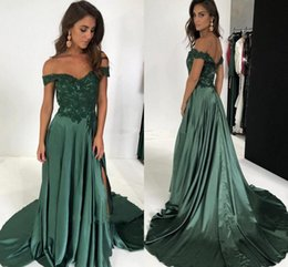 bf6d39fad676 Chocolate Brown Dress Aline UK - Off The Shoulder Long Prom Dresses  Appliques Lace Satin Split