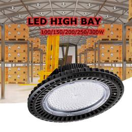 Black Warehouse Lights NZ - Edison2011 LED High Bay UFO Light 150W 300W Black Circular Lamp White Warm white Warehouse Supermarket Stock 110v 220v Overhead Luminaire