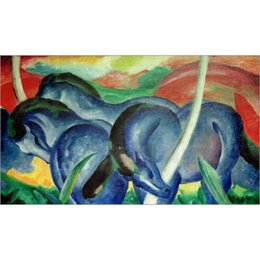 large paintings horses NZ - abstract paintings by Franz Marc Large blue Horses hand painted High quality