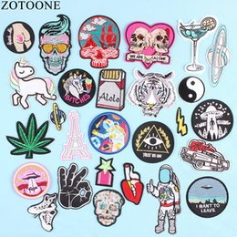 $enCountryForm.capitalKeyWord Australia - ZOTOONE UFO Space Skull Tiger Patch Iron on Sew On Applique Badge Motorcycle Cheap Biker Embroidered Patches For Clothes Sticker