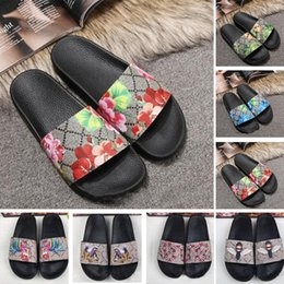 Army green sAndAls online shopping - 2019 New Ace Shoes Women Luxury designer sandals Fashion Flowers Tiger Bee Snake Print Desin Mens Flats Slides Slippers Size