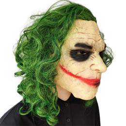toy clown NZ - Dark Knight clown latex mask Halloween green wig headwear cos prop scar mask mardi gras cosplay Parent child toys Christmas