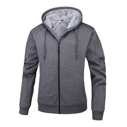 full zip jacket polyester Australia - Mens Outdoor Winter Thick Warm Fleece Lined Hoodie with Pockets Full Zip Sweatshirt Windproof Hooded Pullover Casual Jumper Jacket Outwear