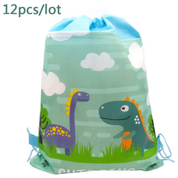 baby shower bags boxes UK - 12PCS LOT Happy Birthday Party Backpack Dinosaur Cartoon Theme Mochila Decora Non-woven Fabric Baby Shower Drawstring Gifts Bags