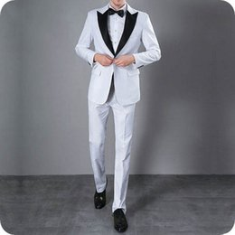 white suit wedding black groom NZ - White Groom Attire Tuxedo Men Suits for Wedding Black Peak Lapel Groomsmen Outfit Terno Masculino Best Man Top Costume Homme 2Piece