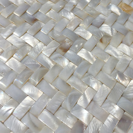 tablet weaving Canada - Weave Mother of pearl mosaic seamless mother of pearl backsplash tile MOP19001 fresh water pearl shell bathroom wall tile