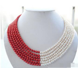 $enCountryForm.capitalKeyWord Australia - 6mm white round freshwater pearl red coral bead necklace> Wholesale Lovely Women's Wedding