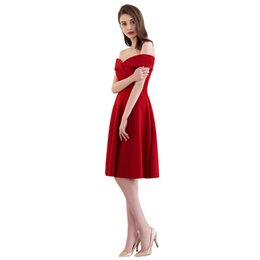 Latest Collection Of Fadistee Cocktail Dresses Sleeves Hot Selling Slim Boat Neck Short Style Dresses Women Little White Dresses Stretch Satin Zipper High Quality Materials Weddings & Events