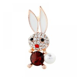 brooches needles Australia - Cute Rhinestone Rabby Brooches For Women Accessories Femme Boutonniere Ladies Collar Needle Suit Jackets Crystal Zircon Brooch