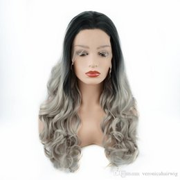 $enCountryForm.capitalKeyWord Australia - Free Shipping Glueless Synthetic Lace Front Wig Dark Roots Ombre Grey Long Body Wave Hair Heat Resistant Fiber Full Wigs for Black Women