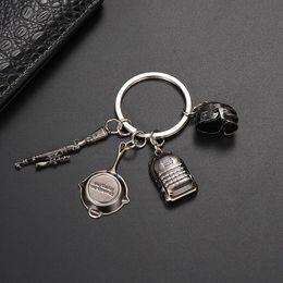 Backpack Keychains Australia - PUBG Metal Keychain Keyring - Helmet Backpack Pan Gun Keychains Cosplay Props Fashion Mens Bag Charm Pendant Accessories