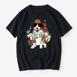 Wholesale 5xl dog clothes online – design 2019 Summer T Shirt men Harajuku Bernard Bad Dog Funny Print Tee Tops Short Sleeve Men T Shirt Casual Male Clothes Tshirt