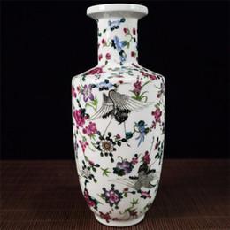 Paintings Vases Australia - Chinese exquisite porcelain pastel painting crane pattern vase