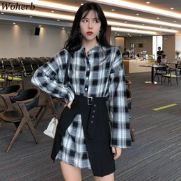 korean two piece dresses woman 2019 - 2019 Summer Two Piece Set Women Long Plaid Blouse + High Waist Skrits Korean Fashion Shirt Dress Streetwear 21182 discou