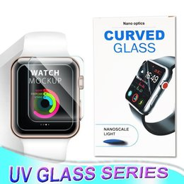 Wholesale Full body protection touch good nano liquid UV full glue tempered glass for Apple Watch series mm mm mm mm with UV light