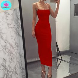 tight ankle length dresses Australia - 2019 European and American women's summer new sexy slim tight solid color long dress Sleeveless Sheath Cotton MX200506