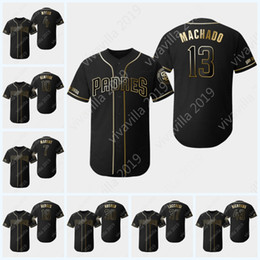 cb6dde942 2019 Black Gold San Diego 13 Manny Machado 30 Eric Hosmer 4 Wil Myers 18  Austin Hedges Hunter Renfroe 7 Margot Padres Jerseys