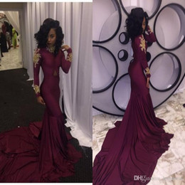 $enCountryForm.capitalKeyWord Australia - 2019 New African Burgundy with Gold Appliques Modest Long Sleeves Prom Dresses Mermaid High Neck Black Girls Evening Party Gowns