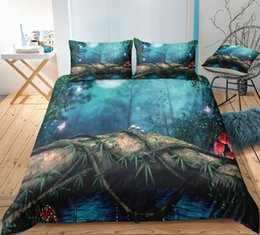 $enCountryForm.capitalKeyWord Australia - Forest 3D Printed Bedding Set Beautiful Fashion Night Peace Duvet Cover Queen King Home Textile Double Single Bed Set With Pillowcase 3pcs