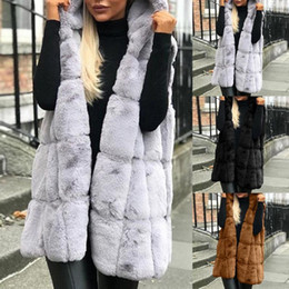 fur hoodies for women UK - Winter Hooded Waistcoat For Women Jacket Solid Sleeveless Hoodies Coat Vest Faux Fur Coat Women Outwear Warm Fur Veste Cardigans