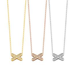 Necklaces Pendants Australia - New Arrive Fashion Lady 316L Titanium steel 18K Plated Gold Necklaces With Full Diamond Cross Pendant 3 Color