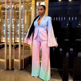 Abiti invernali Women Lady Ufficio manica lunga Tie-dye Flare pieghe Blazer a gamba larga pantaloni tuta insieme a due pezzi Tuta Outfit 2019 in Offerta