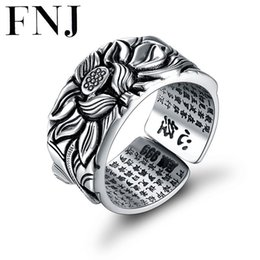 thai mans ring NZ - 925 Silver Lotus Rings Good Luck Buddha Adjustable Size Trendy Popular S925 Solid Thai Silver Ring For Women Men Jewelry Y19062004