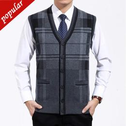 $enCountryForm.capitalKeyWord Australia - Men V-neck Plaid Knitting Vests Male Sleeveless Sweater Jackets Single Breasted Loose Plus Size Wool Gilet For Dad W1274