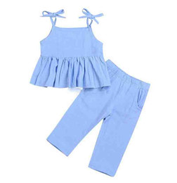 Wholesale 2019 Summer Infant Baby Girl Clothes Halter Ruffled Shirt Top Mini Dress baby Long Pants Trousers Blue Kids Outfits Y