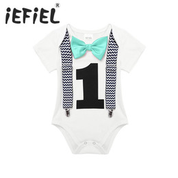 Jumpsuit Year Baby Australia - Iefiel Toddler Newborn Baby Boys 1st Birthday Romper Summer Clothes Infant Jumpsuits For One 1 Year Old Party Gentleman Romper J190525
