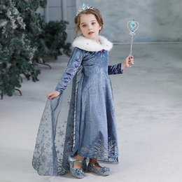 Silk flooring online shopping - Children Snow Queen Cosplay Fancy Princess Dress for Girl tassel skirt Costume Halloween Christmas Party Kids winter Dresses