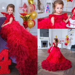 2020 New Design Lovely Red Flower Girls Dresses For Weddings Jewel Neck Tiered Ruffles Sweep Train Birthday Girl Communion Pageant Gowns on Sale
