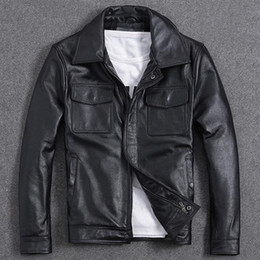vintage clothing mens jackets NZ - Motorcycle Cowhide Short Leather Jackets and Coats For Men Vintage Casual European Streetwear Spring Mens Brand Clothing A972