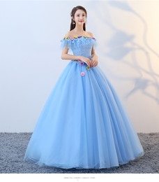 medieval flowers UK - freeship light blue slash collar flower long gown medieval dress Renaissance gown Sissi princess Victorian Marie Belle Ball